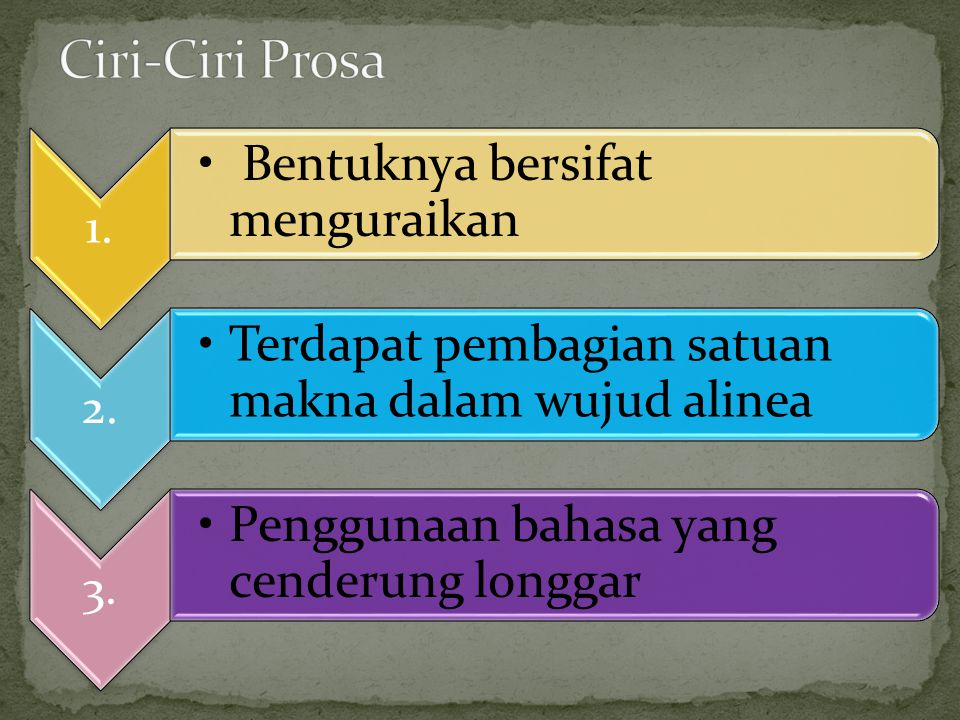 Ciri-Ciri Prosa 1. Bentuknya bersifat menguraikan 2.