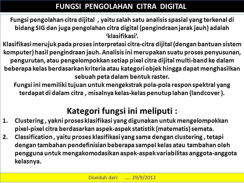 FUNGSI PENGOLAHAN CITRA DIGITAL Kategori fungsi ini meliputi :