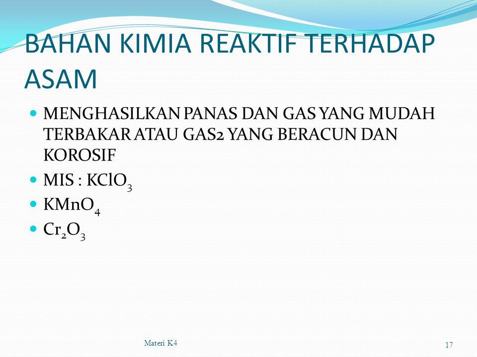 BAHAN KIMIA REAKTIF TERHADAP ASAM