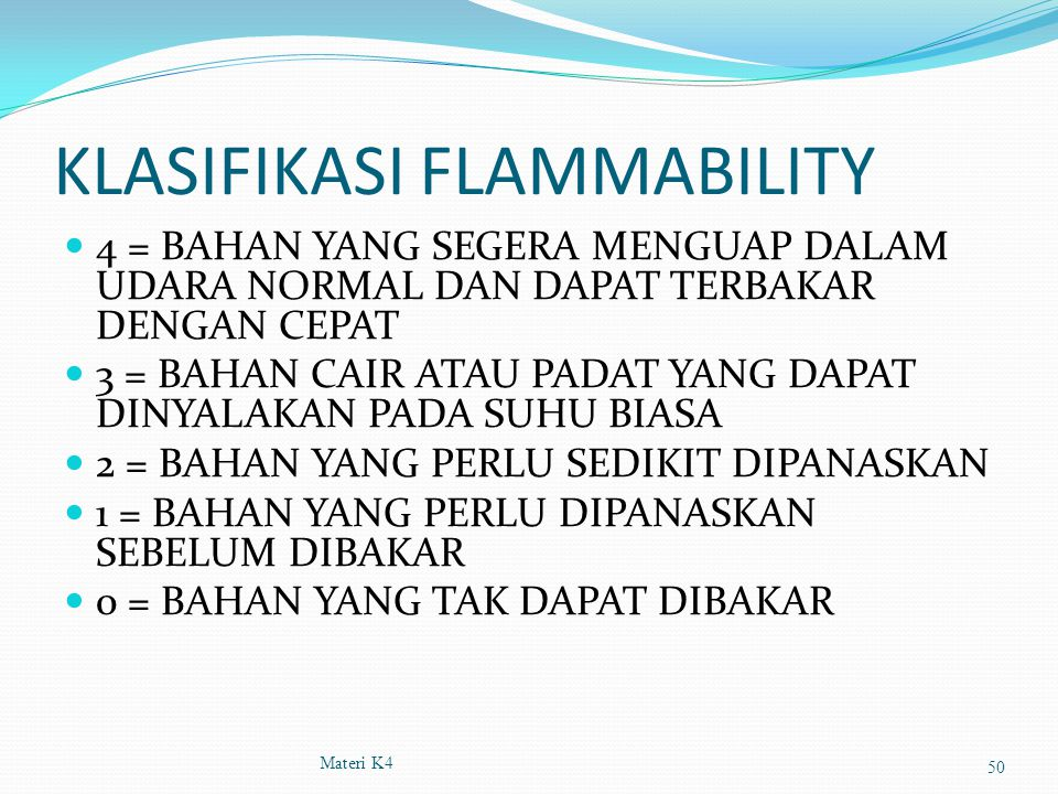 KLASIFIKASI FLAMMABILITY