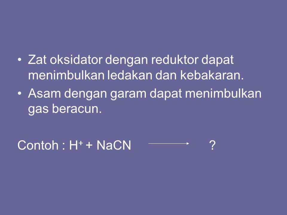 Zat oksidator dengan reduktor dapat menimbulkan ledakan dan kebakaran.