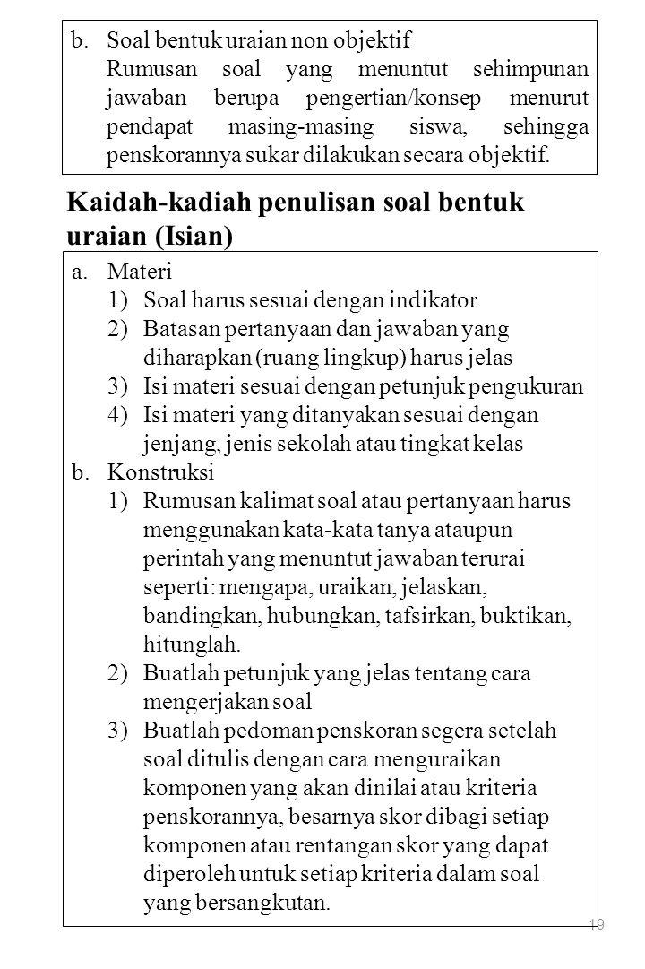 Kaidah-kadiah penulisan soal bentuk uraian (Isian)