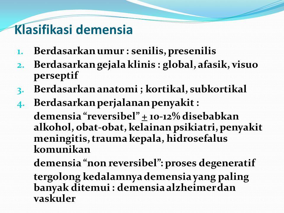 Klasifikasi demensia Berdasarkan umur : senilis, presenilis