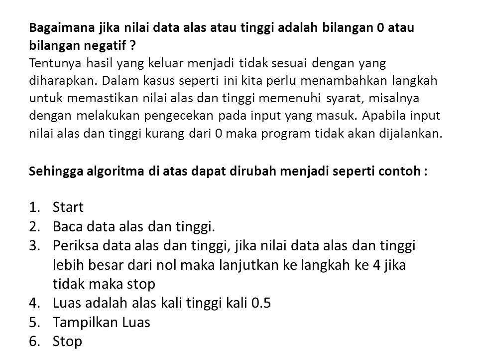 Baca data alas dan tinggi.