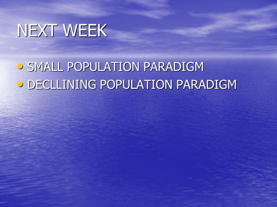 NEXT WEEK SMALL POPULATION PARADIGM DECLLINING POPULATION PARADIGM