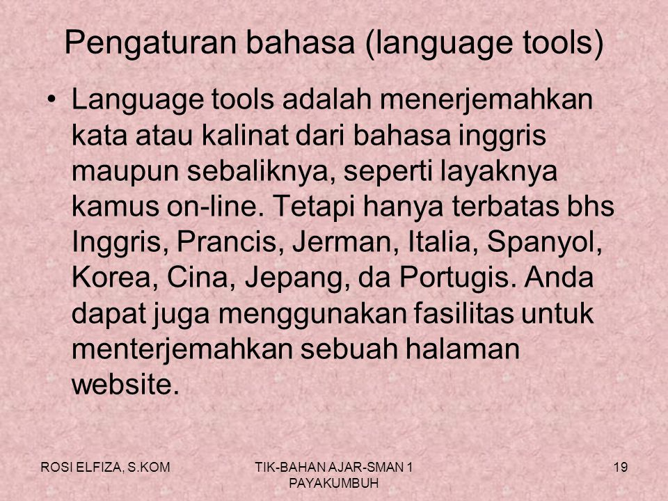 Pengaturan bahasa (language tools)
