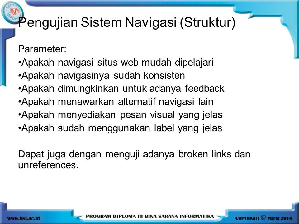 Pengujian Sistem Navigasi (Struktur)