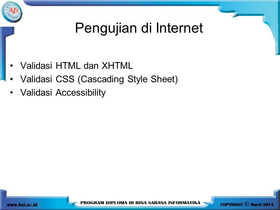 Pengujian di Internet Validasi HTML dan XHTML