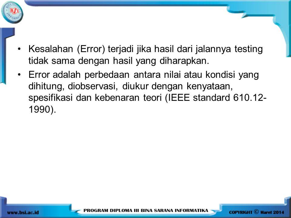 Kesalahan (Error) terjadi jika hasil dari jalannya testing tidak sama dengan hasil yang diharapkan.