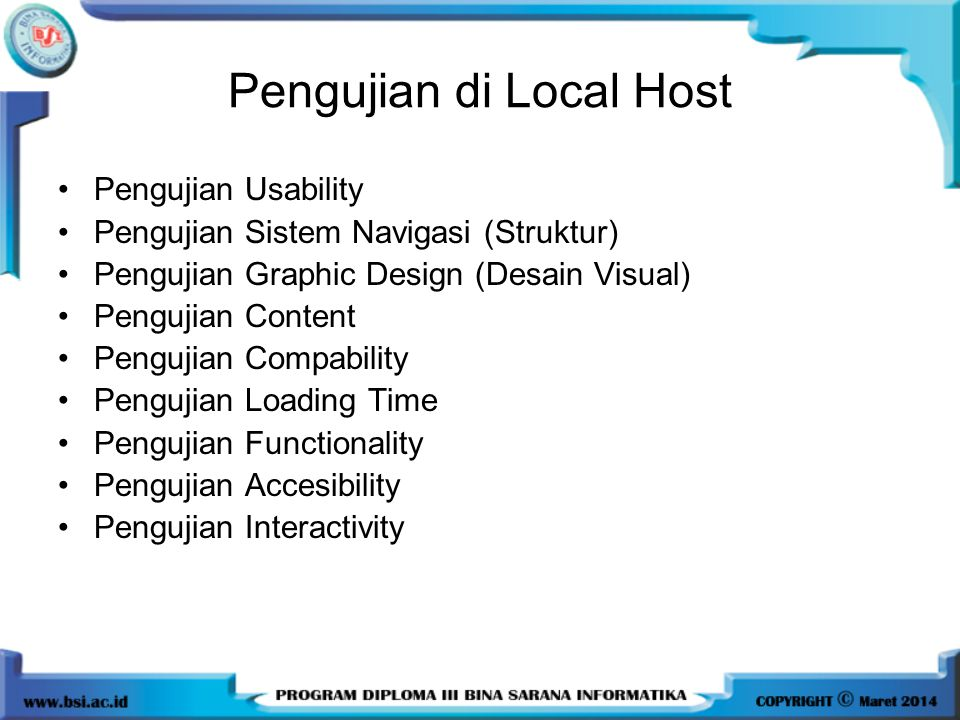 Pengujian di Local Host