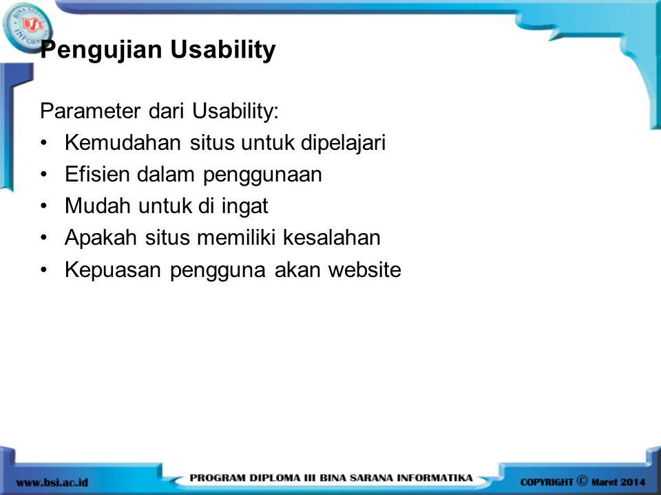 Pengujian Usability Parameter dari Usability: