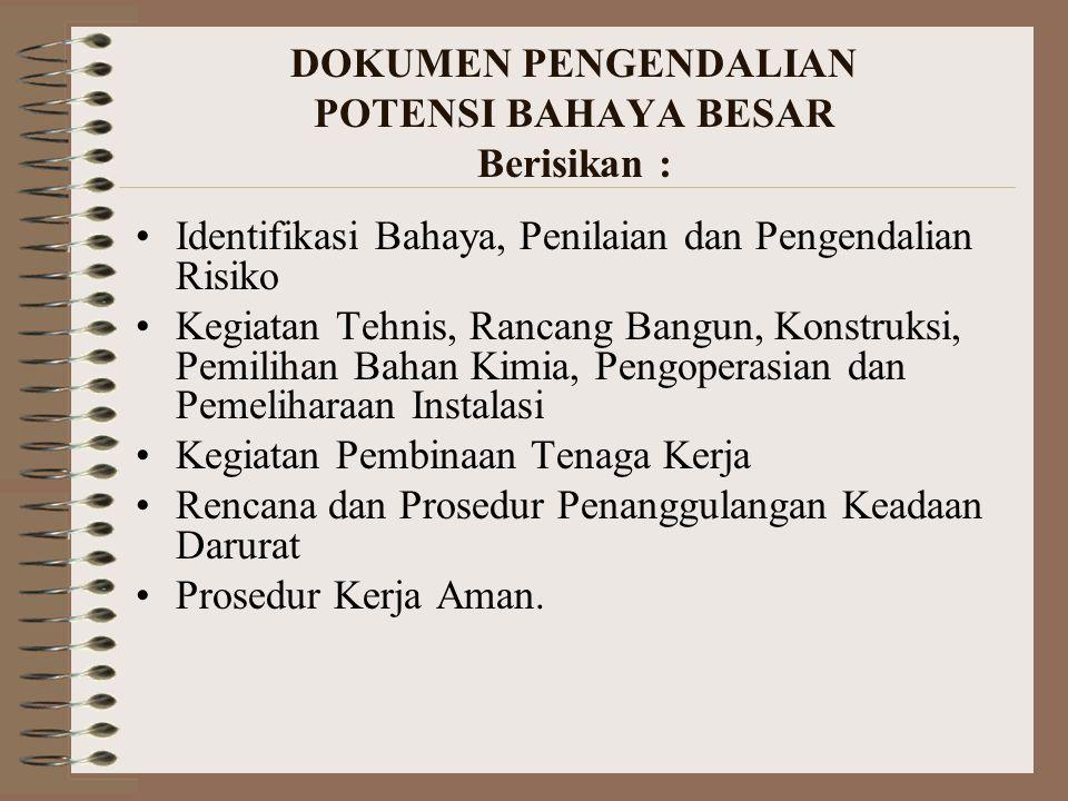 DOKUMEN PENGENDALIAN POTENSI BAHAYA BESAR Berisikan :