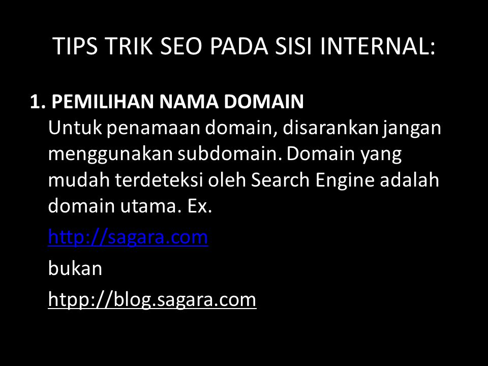TIPS TRIK SEO PADA SISI INTERNAL: