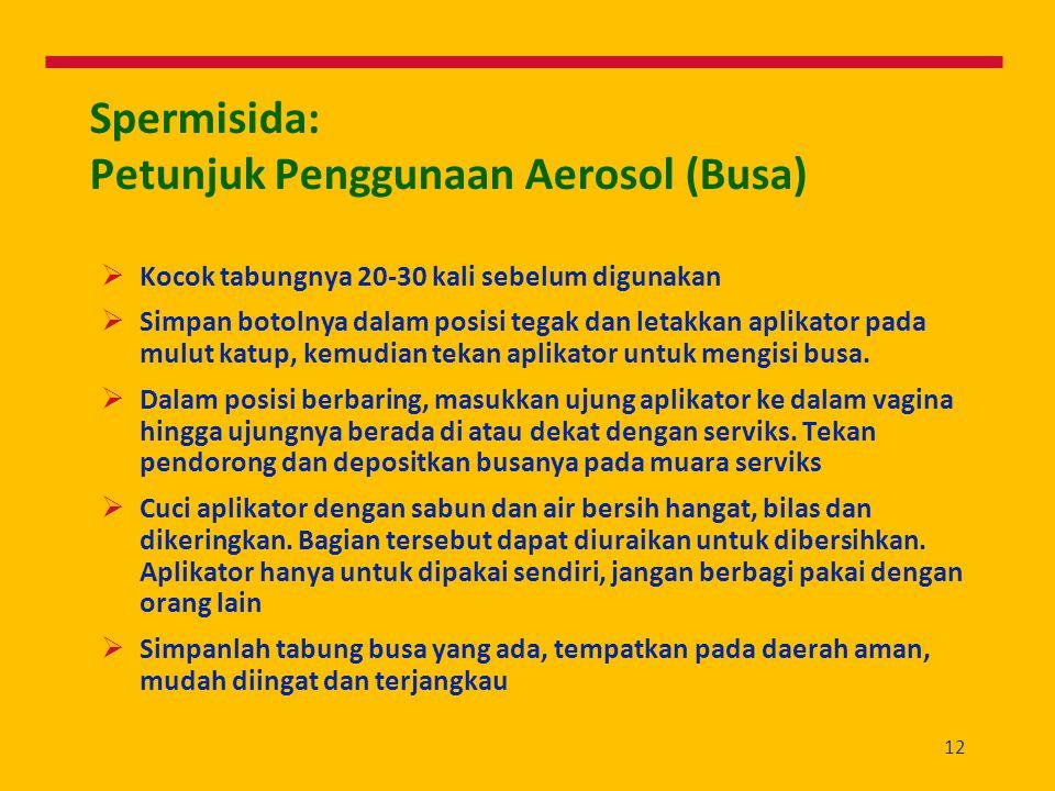 Spermisida: Petunjuk Penggunaan Aerosol (Busa)
