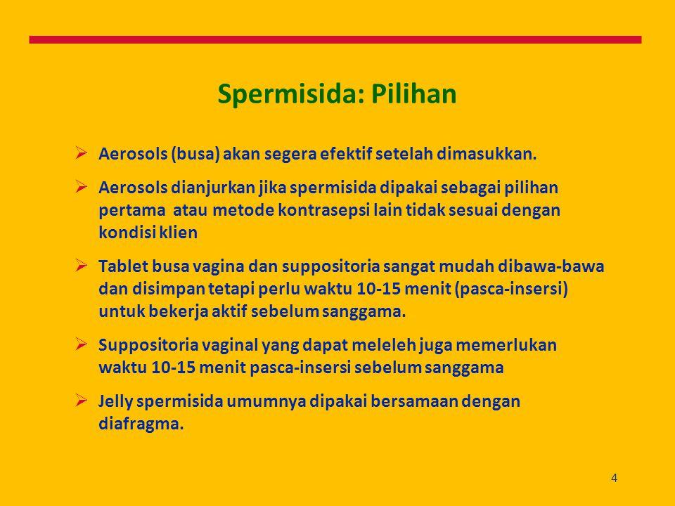 Spermisida: Pilihan Aerosols (busa) akan segera efektif setelah dimasukkan.