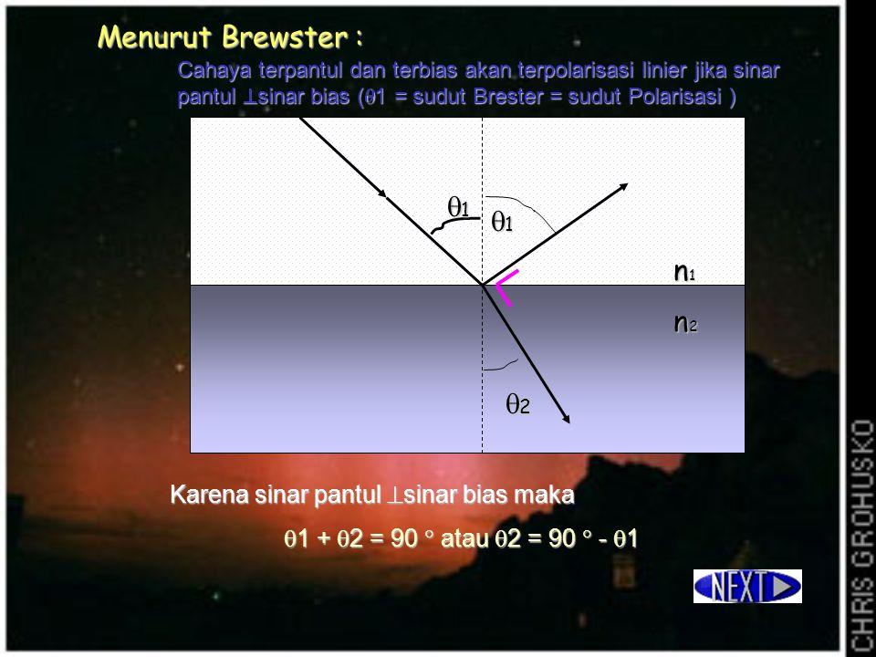 Menurut Brewster : 1 1 n1 n2 2 Karena sinar pantul sinar bias maka