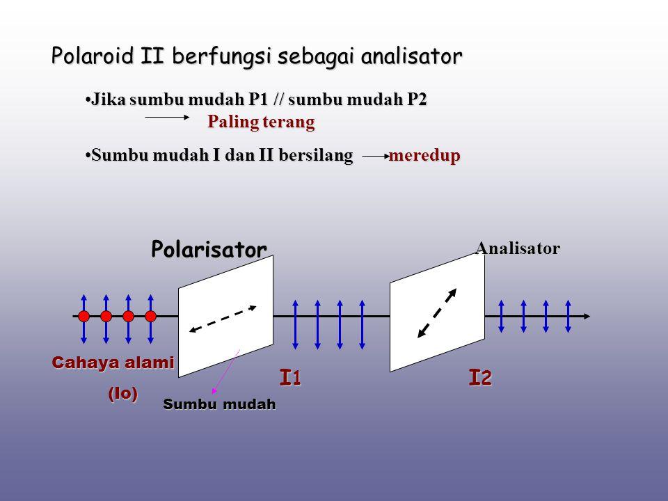 Polaroid II berfungsi sebagai analisator