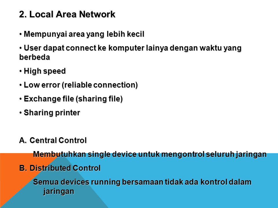 2. Local Area Network Mempunyai area yang lebih kecil