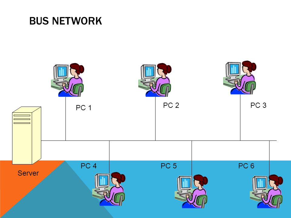 Bus Network PC 2 PC 3 PC 1 PC 4 PC 5 PC 6 Server