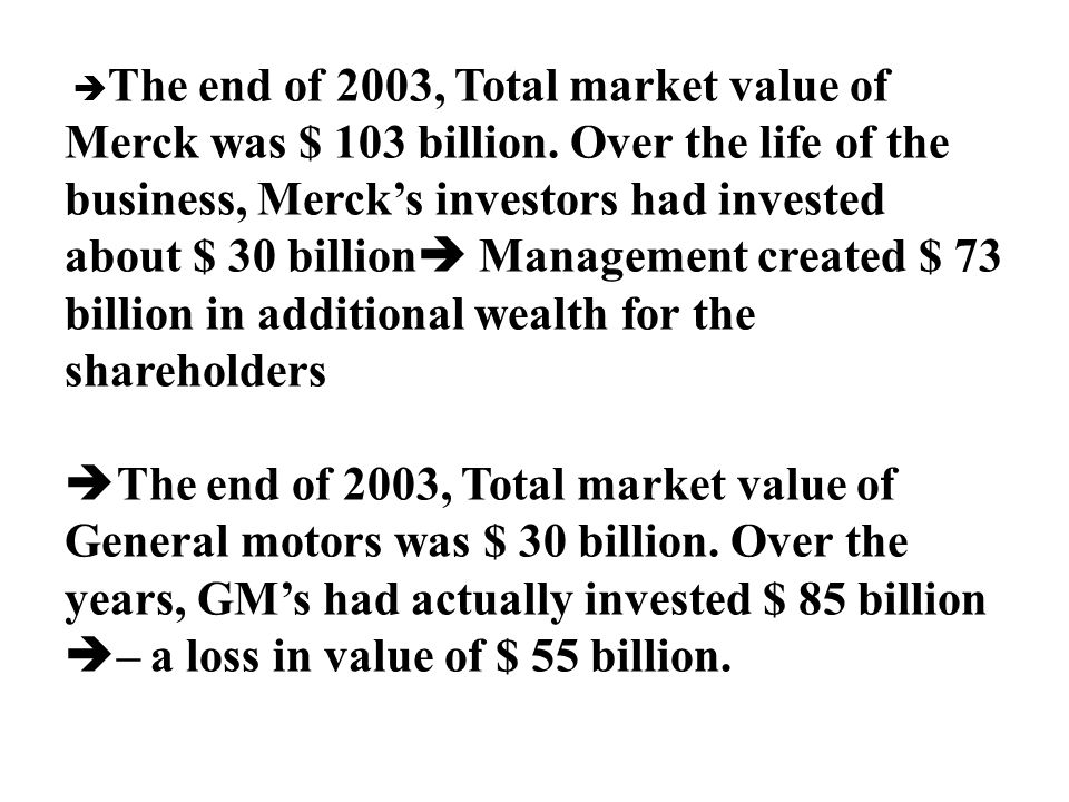 The end of 2003, Total market value of Merck was $ 103 billion