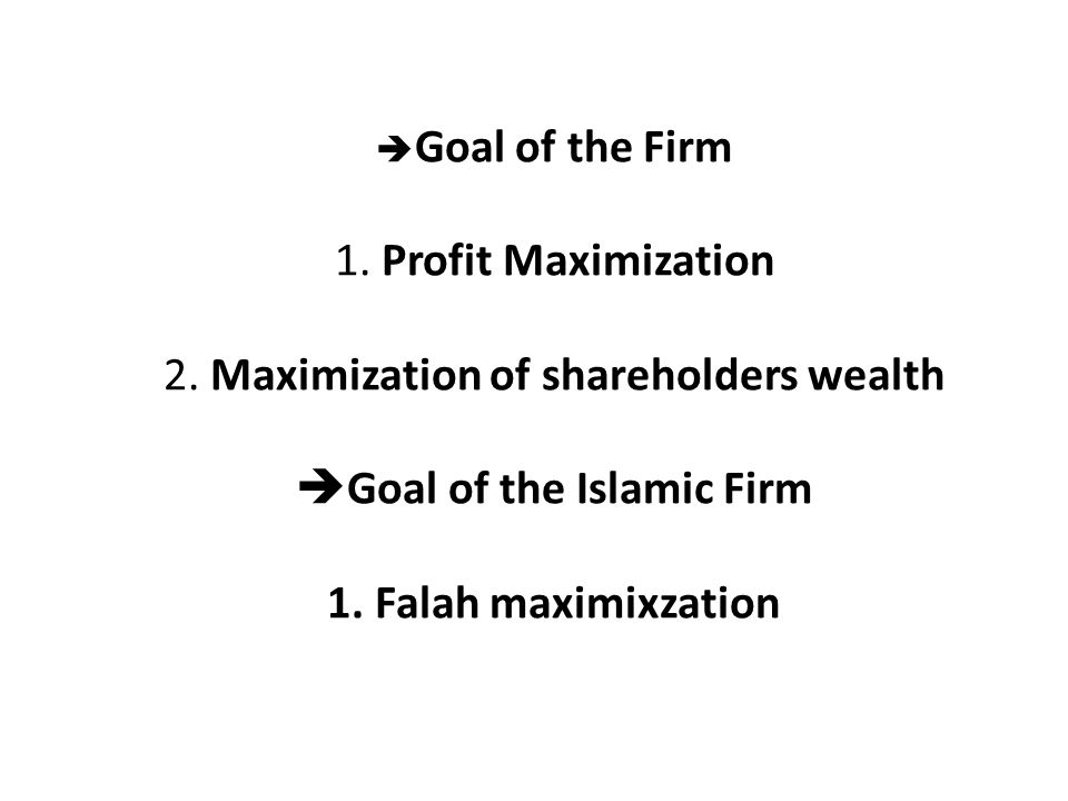 Goal of the Firm 1. Profit Maximization 2