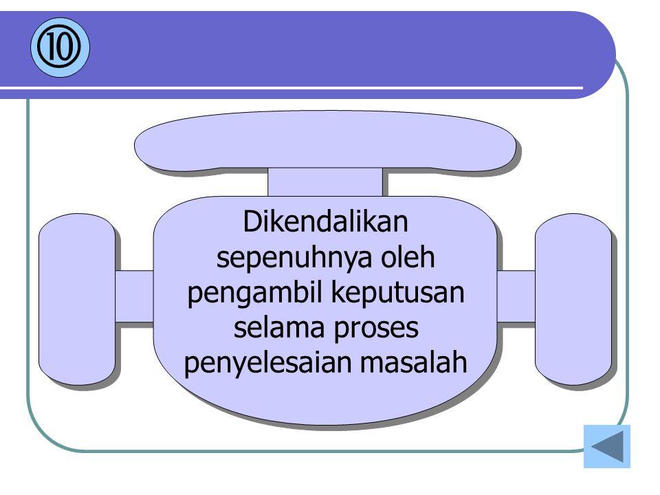  Dikendalikan sepenuhnya oleh pengambil keputusan selama proses penyelesaian masalah