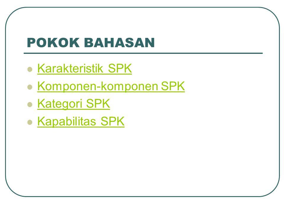 POKOK BAHASAN Karakteristik SPK Komponen-komponen SPK Kategori SPK
