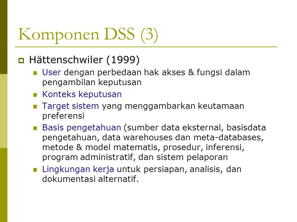 Komponen DSS (3) Hättenschwiler (1999)