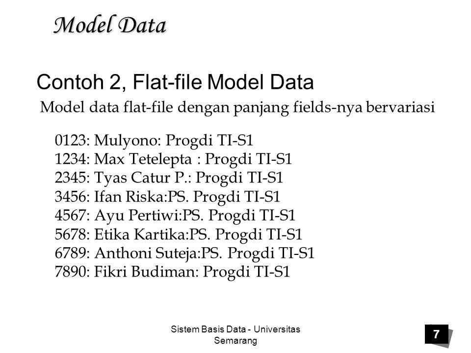 Contoh 2, Flat-file Model Data