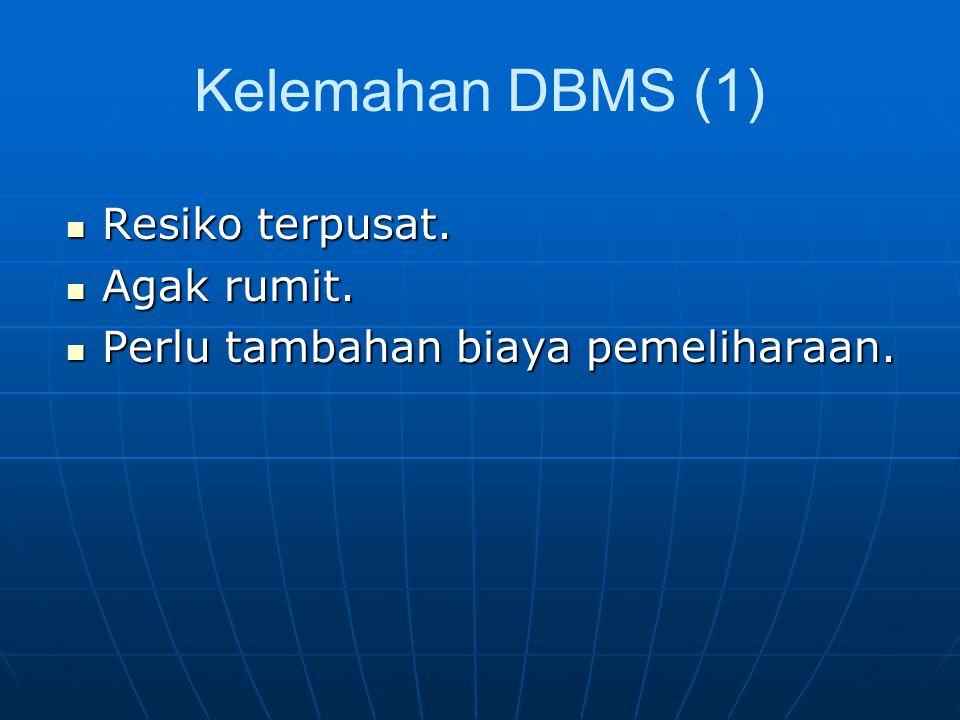 Kelemahan DBMS (1) Resiko terpusat. Agak rumit.