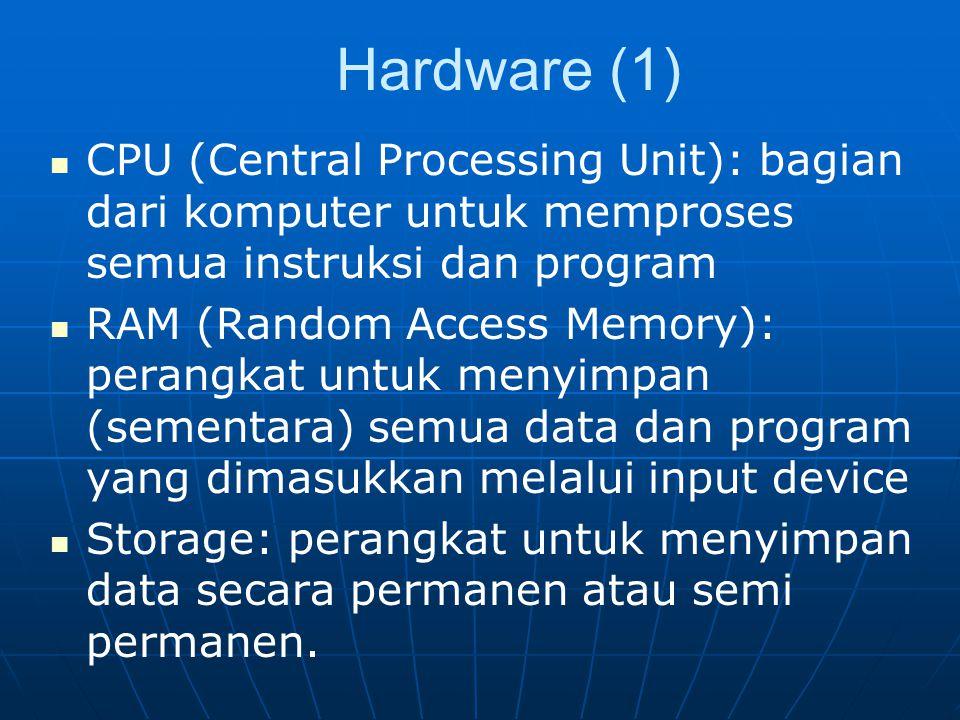 Hardware (1) CPU (Central Processing Unit): bagian dari komputer untuk memproses semua instruksi dan program.
