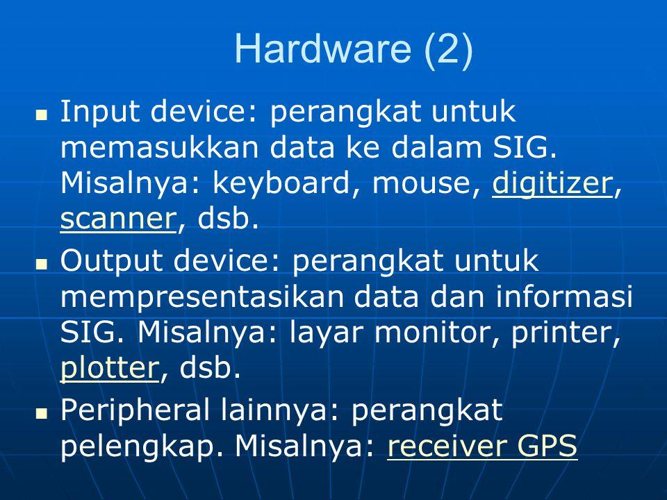 Hardware (2) Input device: perangkat untuk memasukkan data ke dalam SIG. Misalnya: keyboard, mouse, digitizer, scanner, dsb.