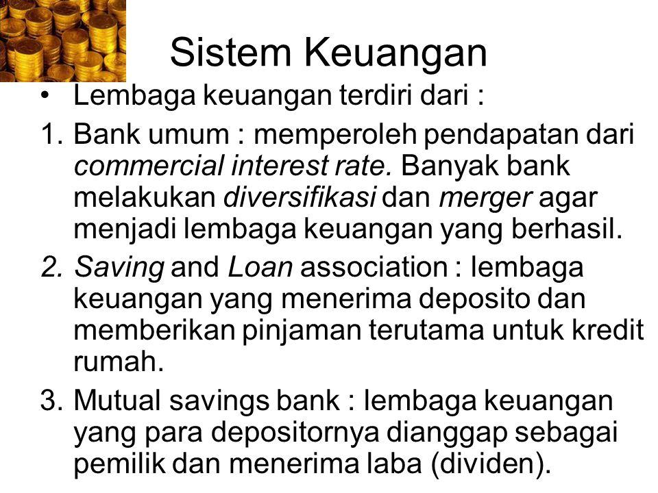 Sistem Keuangan Lembaga keuangan terdiri dari :