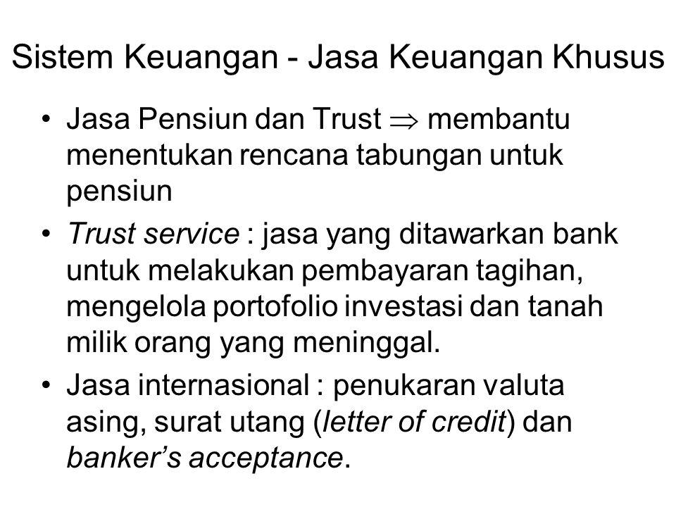 Sistem Keuangan - Jasa Keuangan Khusus