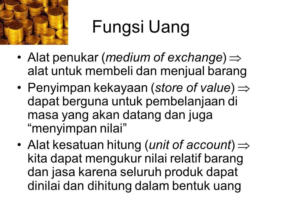 Fungsi Uang Alat penukar (medium of exchange)  alat untuk membeli dan menjual barang.