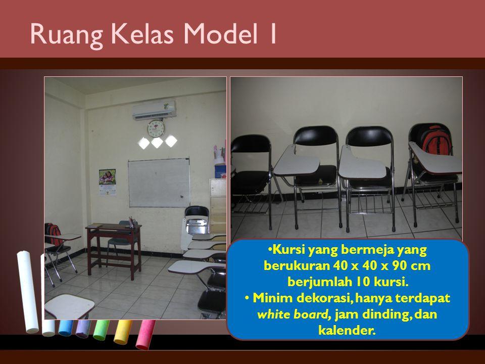 Ruang Kelas Model 1 Kursi yang bermeja yang berukuran 40 x 40 x 90 cm berjumlah 10 kursi.