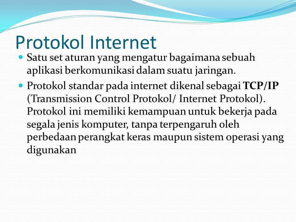 Protokol Internet Satu set aturan yang mengatur bagaimana sebuah aplikasi berkomunikasi dalam suatu jaringan.