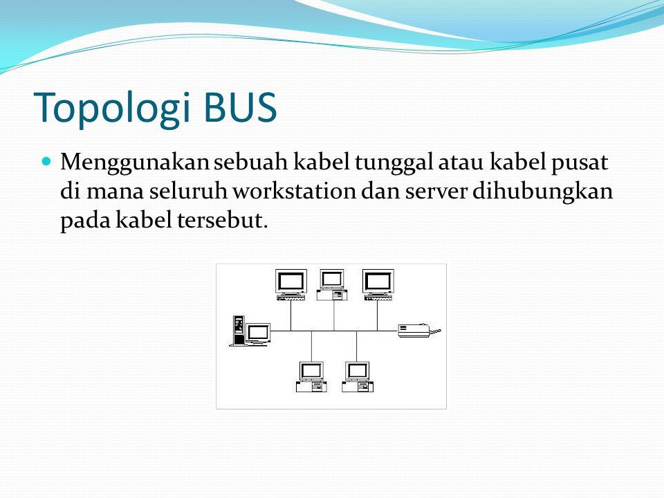 Topologi BUS Menggunakan sebuah kabel tunggal atau kabel pusat di mana seluruh workstation dan server dihubungkan pada kabel tersebut.