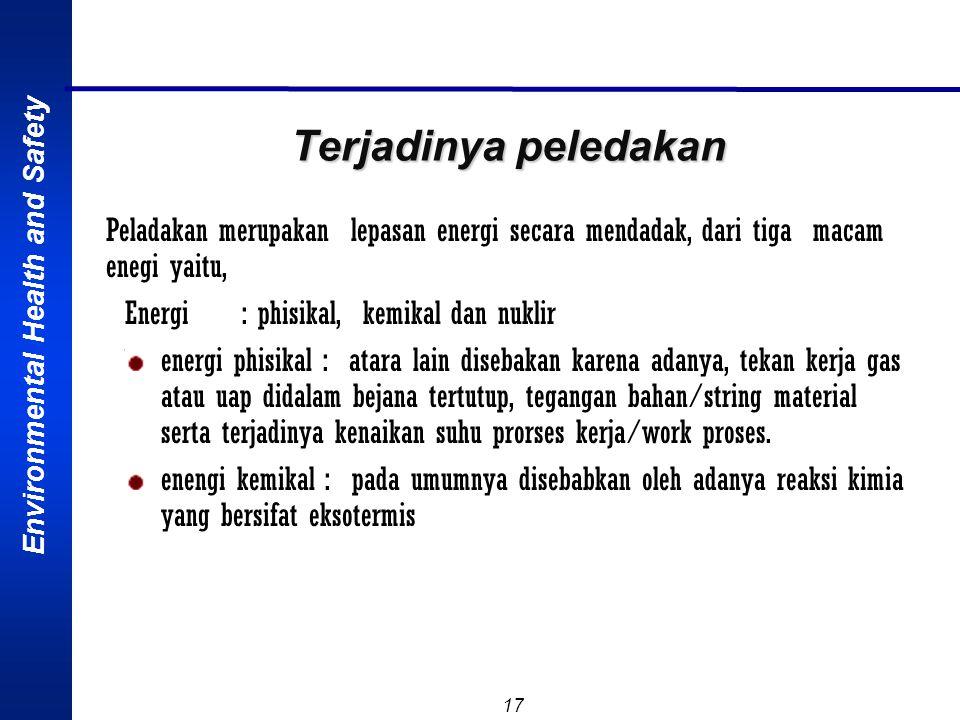 Terjadinya peledakan Peladakan merupakan lepasan energi secara mendadak, dari tiga macam enegi yaitu,
