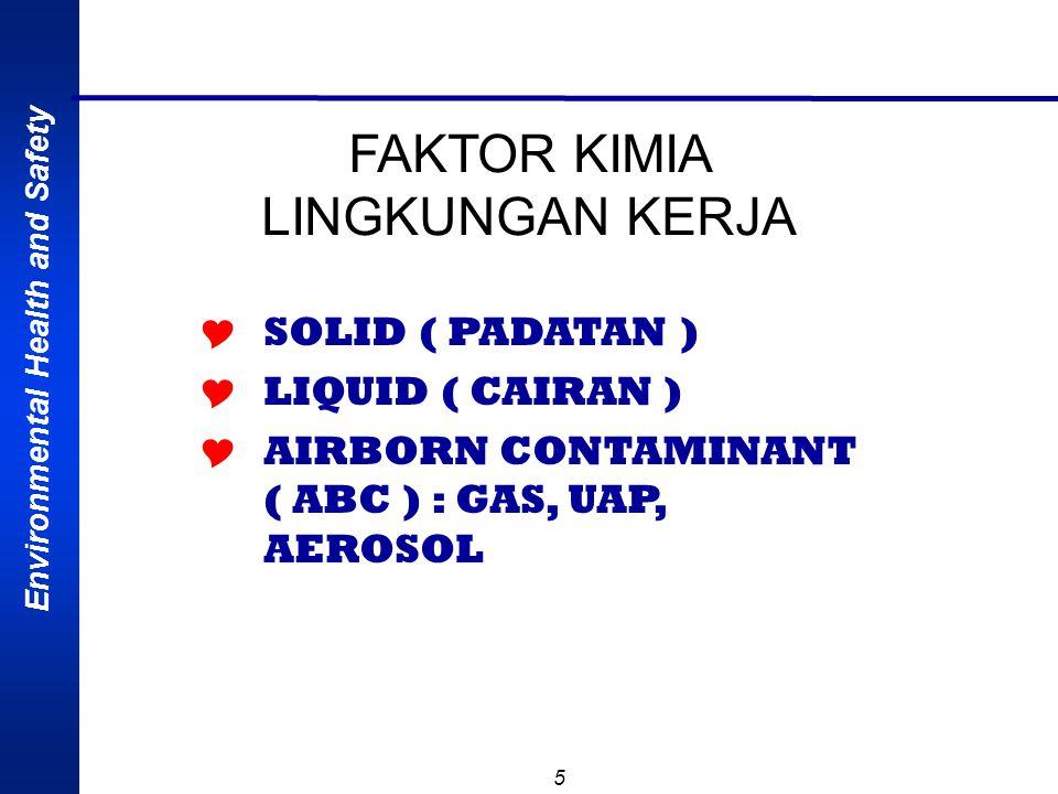 FAKTOR KIMIA LINGKUNGAN KERJA