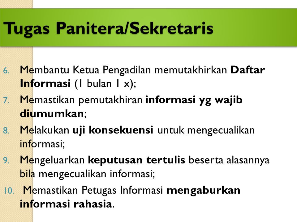 Tugas Panitera/Sekretaris
