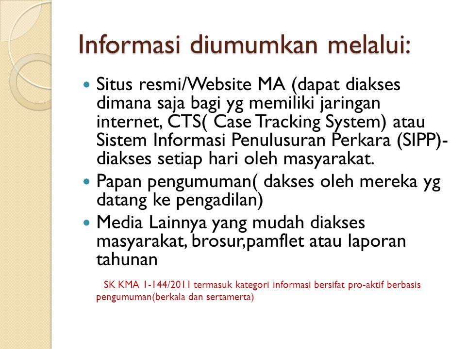 Informasi diumumkan melalui: