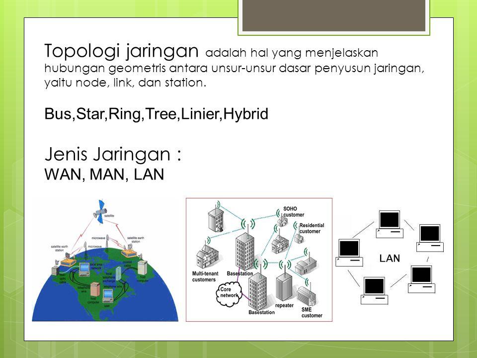 Topologi jaringan adalah hal yang menjelaskan hubungan geometris antara unsur-unsur dasar penyusun jaringan, yaitu node, link, dan station.