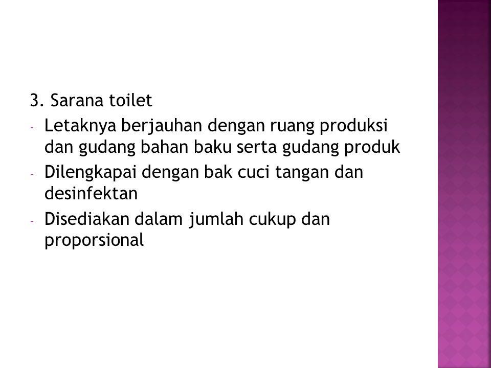 3. Sarana toilet Letaknya berjauhan dengan ruang produksi dan gudang bahan baku serta gudang produk.