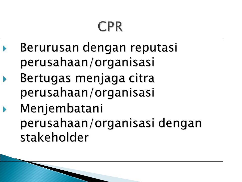 CPR Berurusan dengan reputasi perusahaan/organisasi