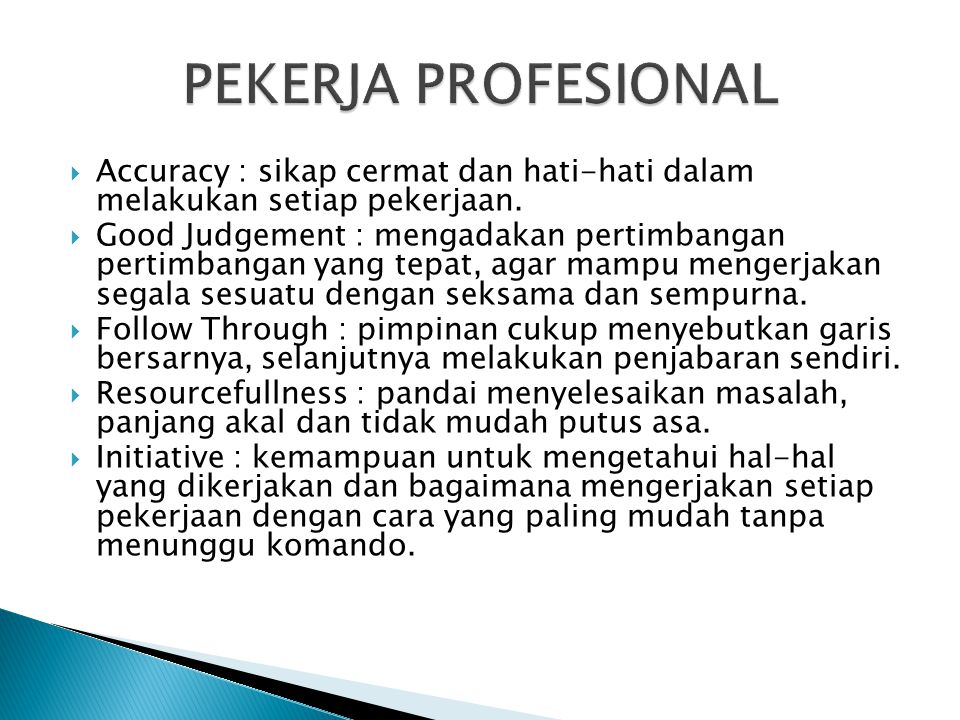 PEKERJA PROFESIONAL Accuracy : sikap cermat dan hati-hati dalam melakukan setiap pekerjaan.