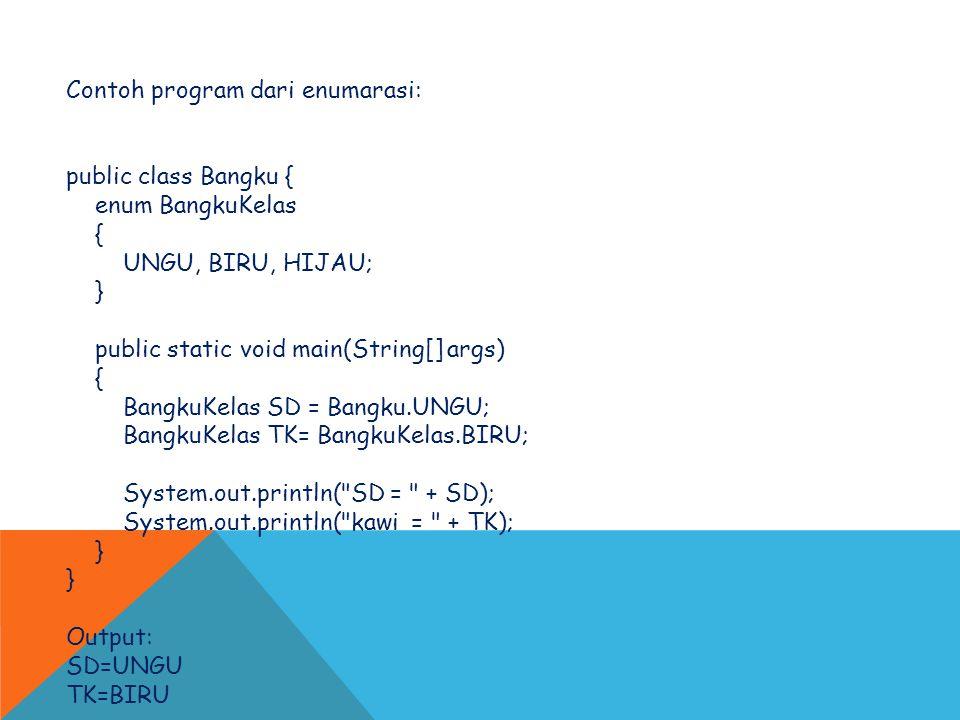 Contoh program dari enumarasi: