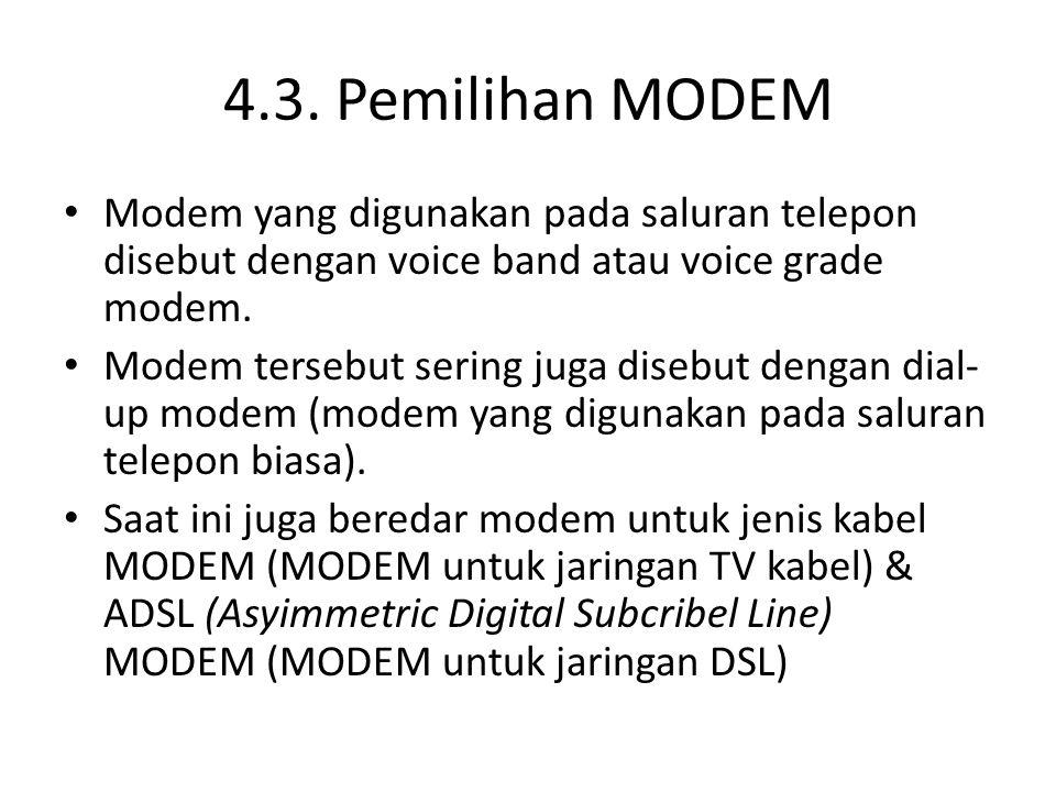 4.3. Pemilihan MODEM Modem yang digunakan pada saluran telepon disebut dengan voice band atau voice grade modem.