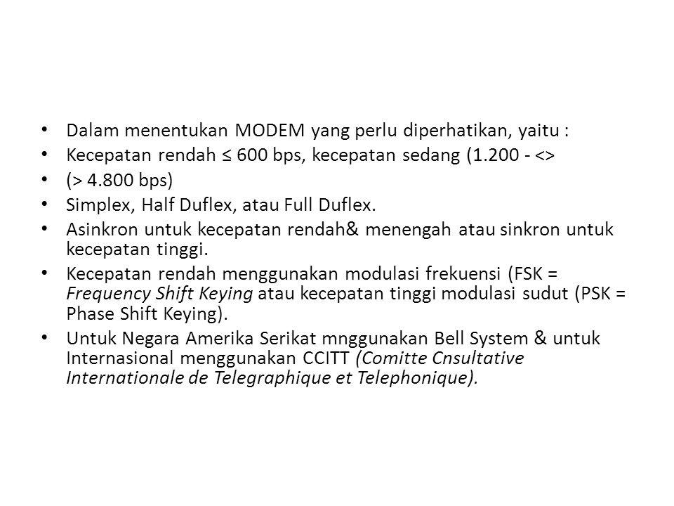 Dalam menentukan MODEM yang perlu diperhatikan, yaitu :