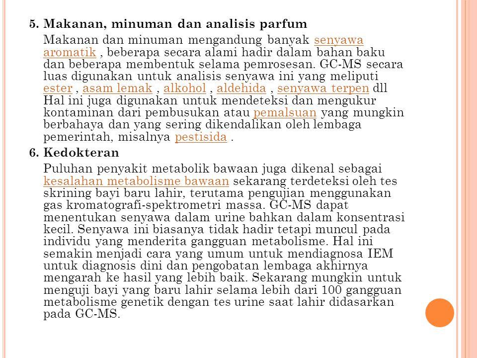 5. Makanan, minuman dan analisis parfum